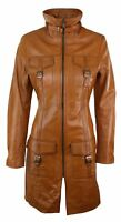 Tan Ladies Woman's Vintage Soft Washed Real Leather Jacket Trench Coat