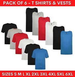 6 Pack Mens T Shirts & Vests Crew Neck Regular & Plus King Size Plain Tee S-6XL