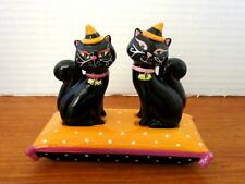 Grassland's Road Halloween Black Cat Witches on a Pillow Salt and Pepper Shakers