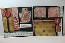 Sunrise ~  2 pre-made scrapbook pages paper piecing layout
