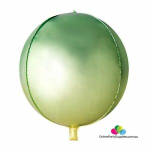 22 Inch Jumbo Ombre ORBZ 4D Sphere Metallic Green Yellow Foil Balloon  Birthday