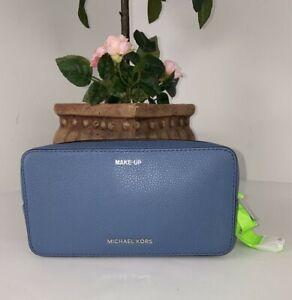 Michael Kors Cosmetic Bag Jet Set Double Zip Makeup Brushes Blue Leather  M1