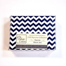 Sweet Home 1500 Supreme Collection 4pc Queen Sheet Set Microfiber Navy Zig-Zag