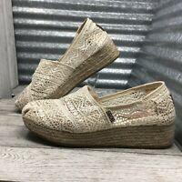 Skechers Bobs Memory Foam Espadrille Ivory Crochet Wedge Women's Size 7.5