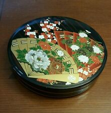 Beautiful Yamanaka Japan Painted Laquer Bakelite Round Tray with Lid Sticker