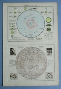 """1895 The Times Full Colour Map The Solar System and The Moon 16"""" x 11"""""""