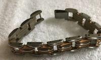 """Vintage Silver & Copper To E Link Bracelet 7"""""""