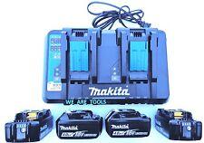 (4) New Makita 18V BL1840B Batteries, 1) DC18RD Dual Battery Charger 18 Volt USB