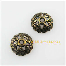 60Pcs Antiqued Bronze Tone Flower Heart Spacer Beads End Caps 8mm