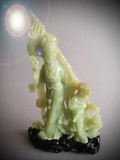 JADE KWAN YIN STATUE GEISHA CHINA 24 CM CARVING SCULPTURE MAIDEN GUAN YIN BUDDHA