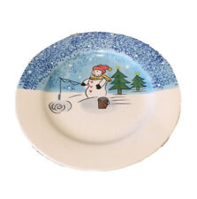 Christmas Fishing Snowman Decorative Plate