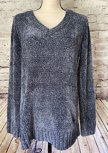Orvis Chenille V Neck Sweater Blue So Soft! Women's S M L