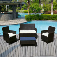 4 PCS Rattan Sofa Wicker Furniture Table & Chair Set Cushioned Patio Outdoor