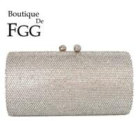 Women Silver Evening Clutch Bags Bridal Crystal Purses Wedding Party Handbags