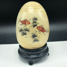 Collectible Marble Glaze Egg figurine statue tropical fish Hawaii tiki bar decor