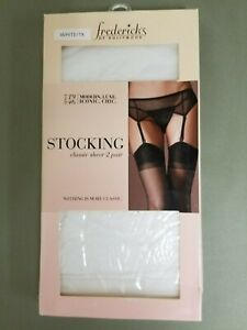 new fredericks of hollywood classic sheer 2 pair white stockings.