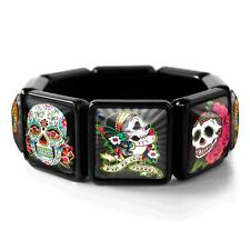 Day of the Dead Muertos Sugar Skull Collection Glass Black Bangle Charm Bracelet