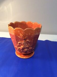 Vintage Hull Imperial (?) Pedestal Scalloped Planter Orange Splatter/Speckle USA