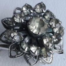 VINTAGE SARAH COVENTRY IMITATION DIAMOND FILIGREE RING, SILVER TONE, 1960s