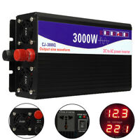 3000W Pure Sine Wave Power Inverter 12V TO 220V Dual LED Digital Display + Cable