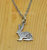 Cute Floral Bunny Rabbit Pendant Necklace, Ladies, Girls Gift Stainless Steel