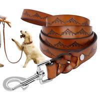 130cm Hundeleine Echtes Lederleine Geflochten für große Hunde Braun Top Qualität