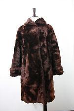 Vintage mouton lamb fur coat M 50's brown soft A-line swing vtg warm