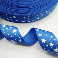 "NEW DIY 5 yards 1"" 25 mm  printed grosgrain ribbon Star Blue hair bow craft X"