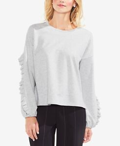 NWT! Vince Camuto Ruffled-Sleeve Sweater, Grey, Size Variety
