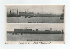 "VINTAGE NAVAL POSTCARD - LAUNCH OF HMS ""COLOSSUS"" 1910"