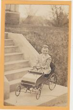 Real Photo Postcard RPPC - Boy in Pedal Car Outdoors