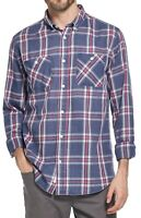 Weatherproof Mens Shirt Blue Red Size Large L Button Down Plaid Flannel $60 197