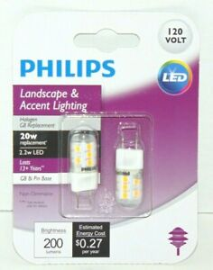 Philips 2 20W Equivalent T4 G8 Bi-Pin Base LED Special Purpose Light Bulbs NEW