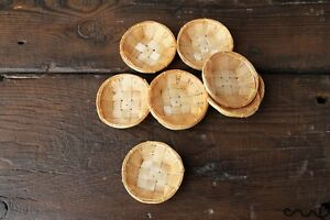 8 x Tiny Rattan Basket Woven Wicker Basket Round Miniature Handmade Cute Craft
