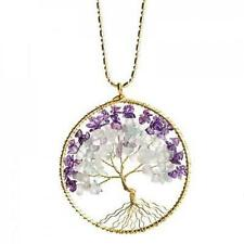 "Tree Of Life Necklace Handmade By Artisan In Thailand Natural Amethyst 29"" long"