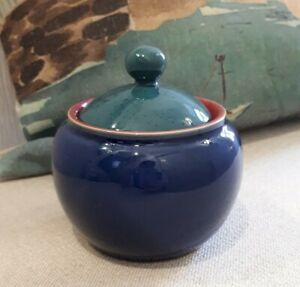 Denby Harlequin Sugar Bowl With Lid - Blue And Green