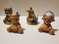 Vintage HOMCO Woodland Friends Set of 4 -  1418 & 5312 - Bear Bunny Racoon
