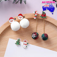 Wholesale 18K Gold Plated Christmas Tree Snowman Santa Claus Tassel Earrings