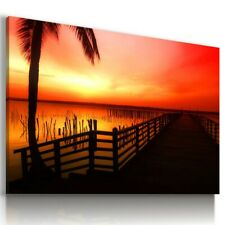 RIVER PIER SUNSET PALMS Perfect View Canvas Wall Art Picture Large L285 UNFRAMED