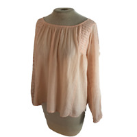 Lucky Brand Strappy Gauzy Boho Top Shirt Blouse Blush Pink S Small