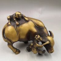 Old copper hand-made wealth lucky Boy play Cattle Home decoration