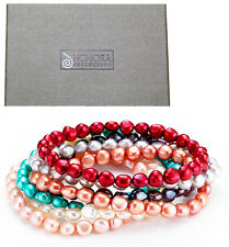 Honora Freshwater Cultured Baroque Pearl 7 Stretch Bracelet Set BOXED w pouch