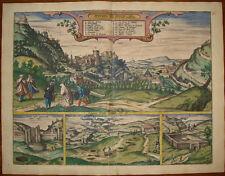 stampa antica old print braun hogenberg Granada Alhambra 1598 Spain Espana