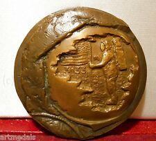 RARE BRONZE ART MEDAL USA FIRST FOOT STEPS ON THE MOON 3h33 21 VII 1969 SPACE