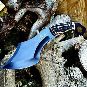 KARAMBIT/CHOPPER/CAMPING HANDMADE BY FORGED HUNTER WITH STAG HORN HANDLE