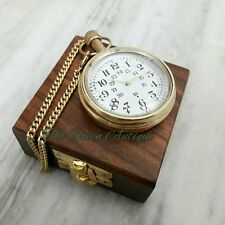 Antique Vintage Brass Pocket Watch Mechanical Automatic Necklace Chain