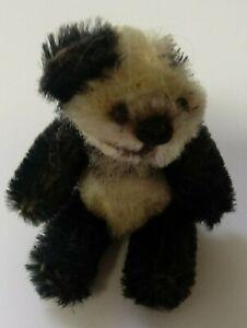 "Schuco Mohair 2-3/4"" Black White Panda Teddy Bear Jointed Black Shoe Button Eyes"