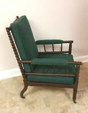Vintage Mid-19th Century English Bobbin Spindle Spool Armchair Green Fabric