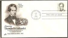 US SC # 1861 Thomas H. Gallaudet FDC. Artcraft Cachet.