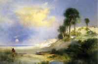 Oil painting Thomas Moran - Fort George Island, Florida nice landscape canvas
